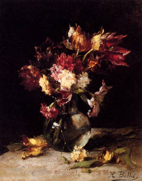 Still Life Of Tulips And Carnations In A Vase